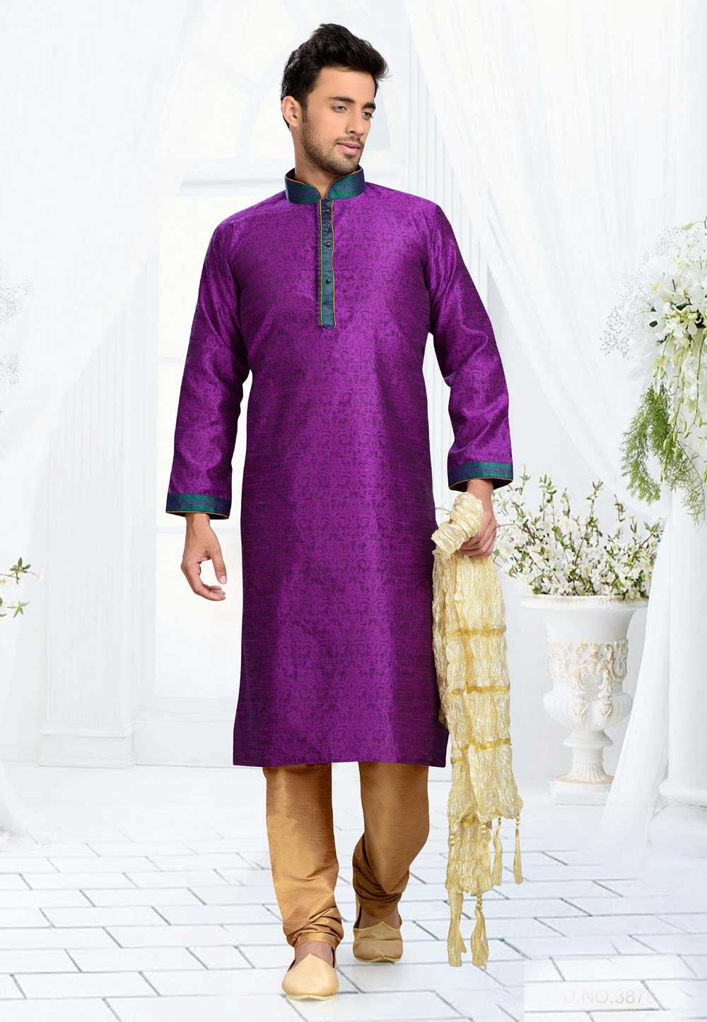 Jacquard,Art Silk & Purple Color Readymade Kurta Pajama