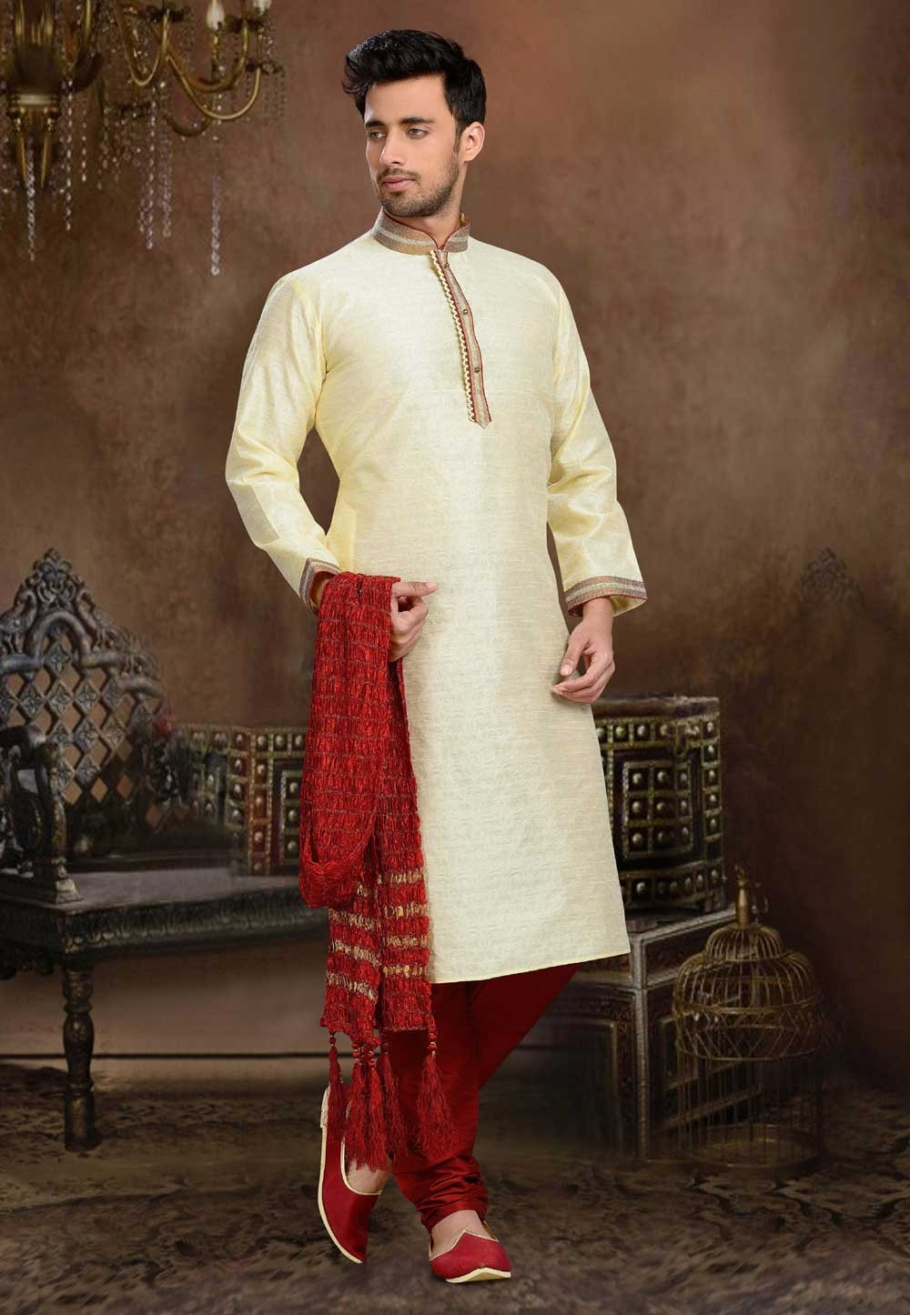 Men's Jacquard,Art Silk Yellow Color Readymade Kurta Pyjama