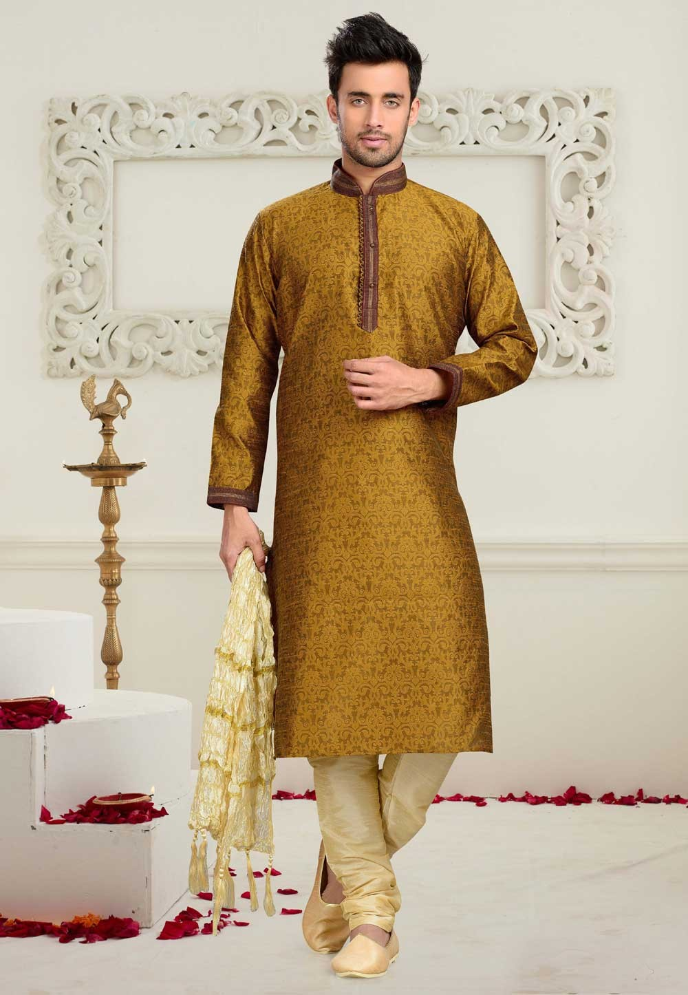 Men's Jacquard,Art Silk Golden Color Readymade Kurta Pyjama