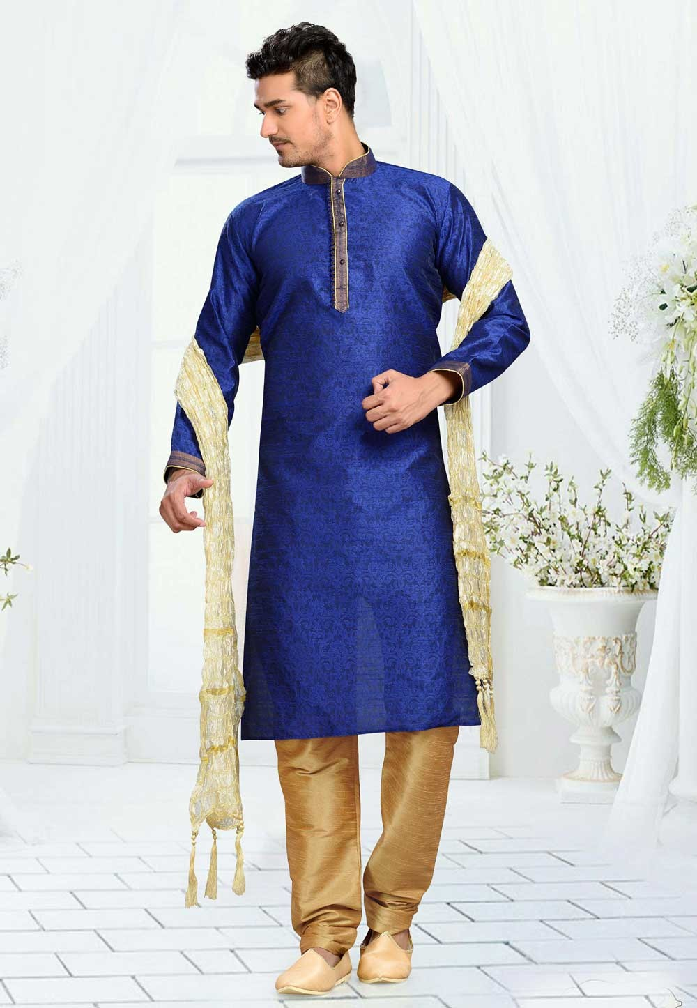 Men's Jacquard,Art Silk Blue Color Readymade Kurta Pajama
