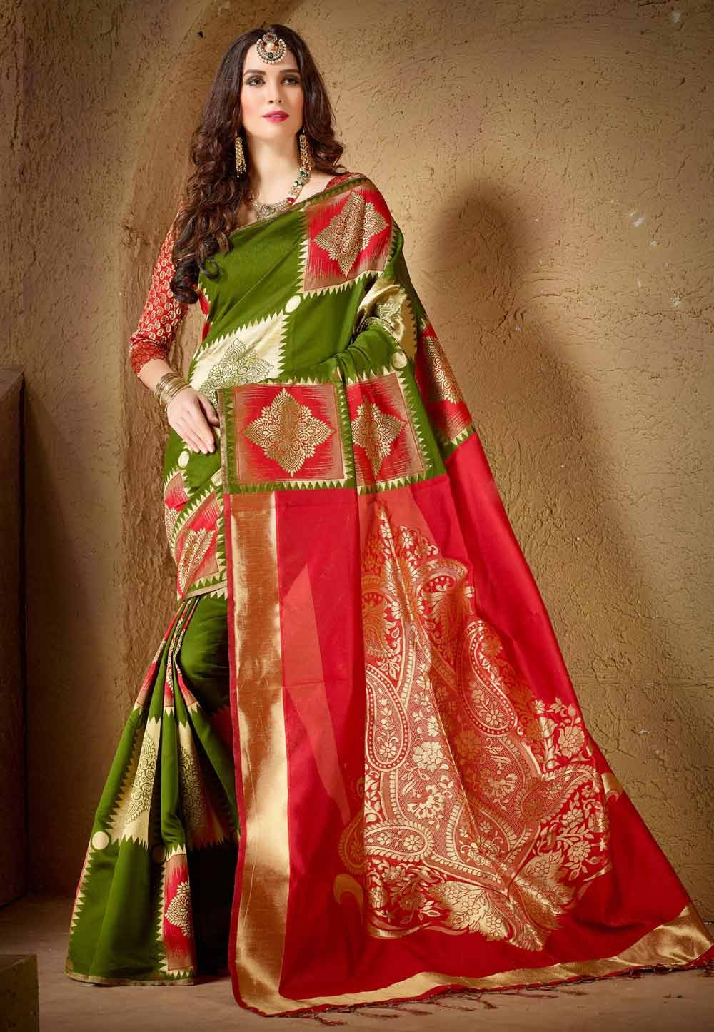 Beautiful Looking Green,Red Color Women's Ethnic Saree