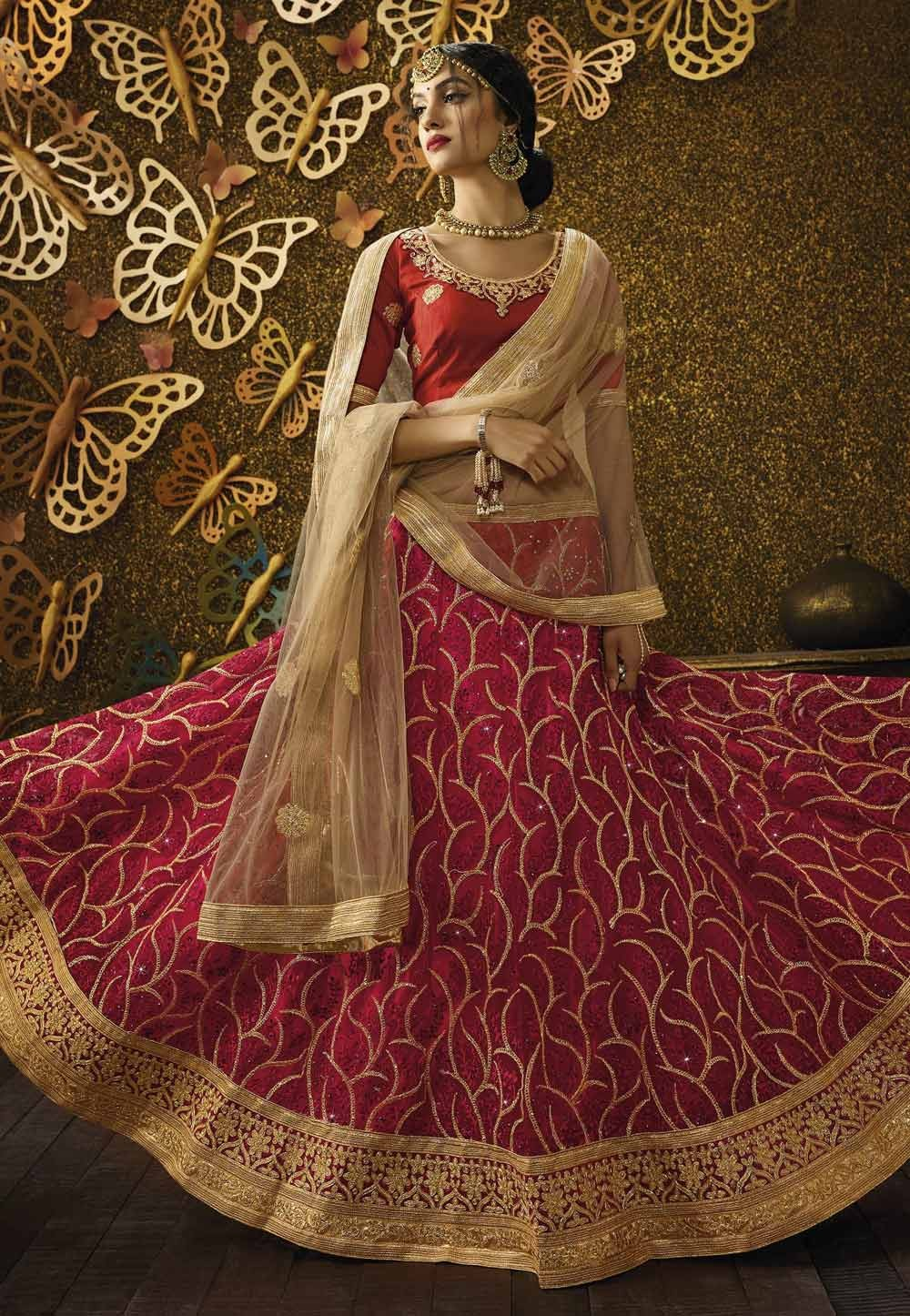 Red Color Pretty Unstitched Lehenga Choli With Lace,Embroidery Work