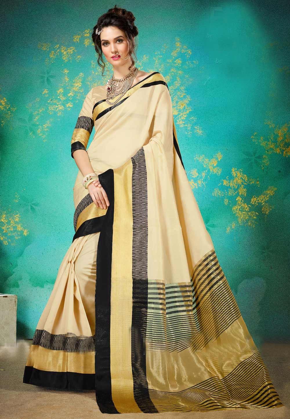 Women's Attractive Looking Ethnic Beige Color Cotton Silk Saree