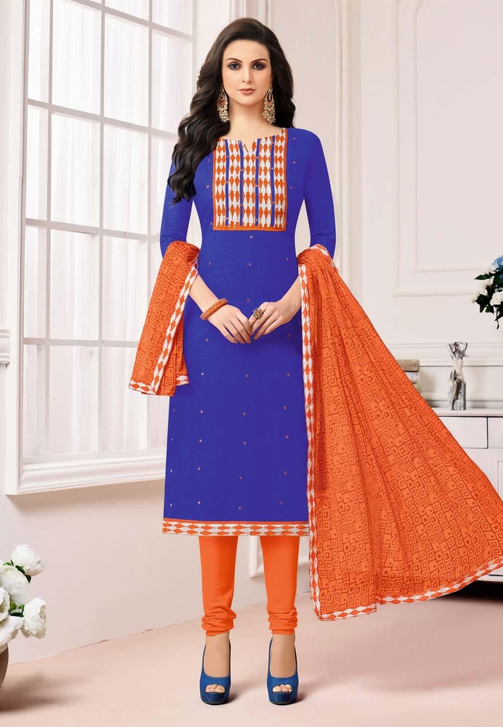Straight Cut Style Blue Color Incredible Salwar Kameez