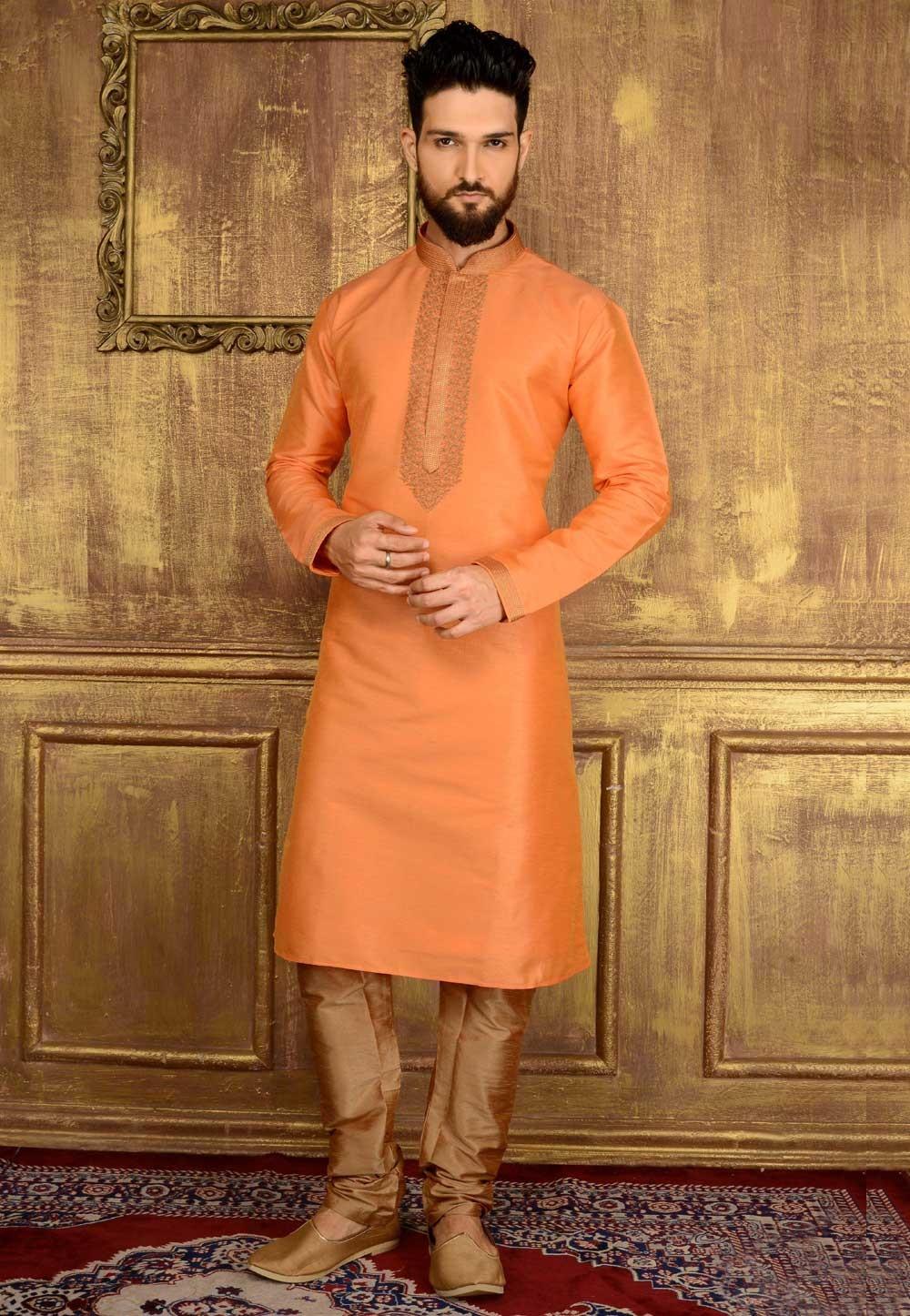 Men's Banarasi,Art Silk Orange Color Readymade Kurta Pajama