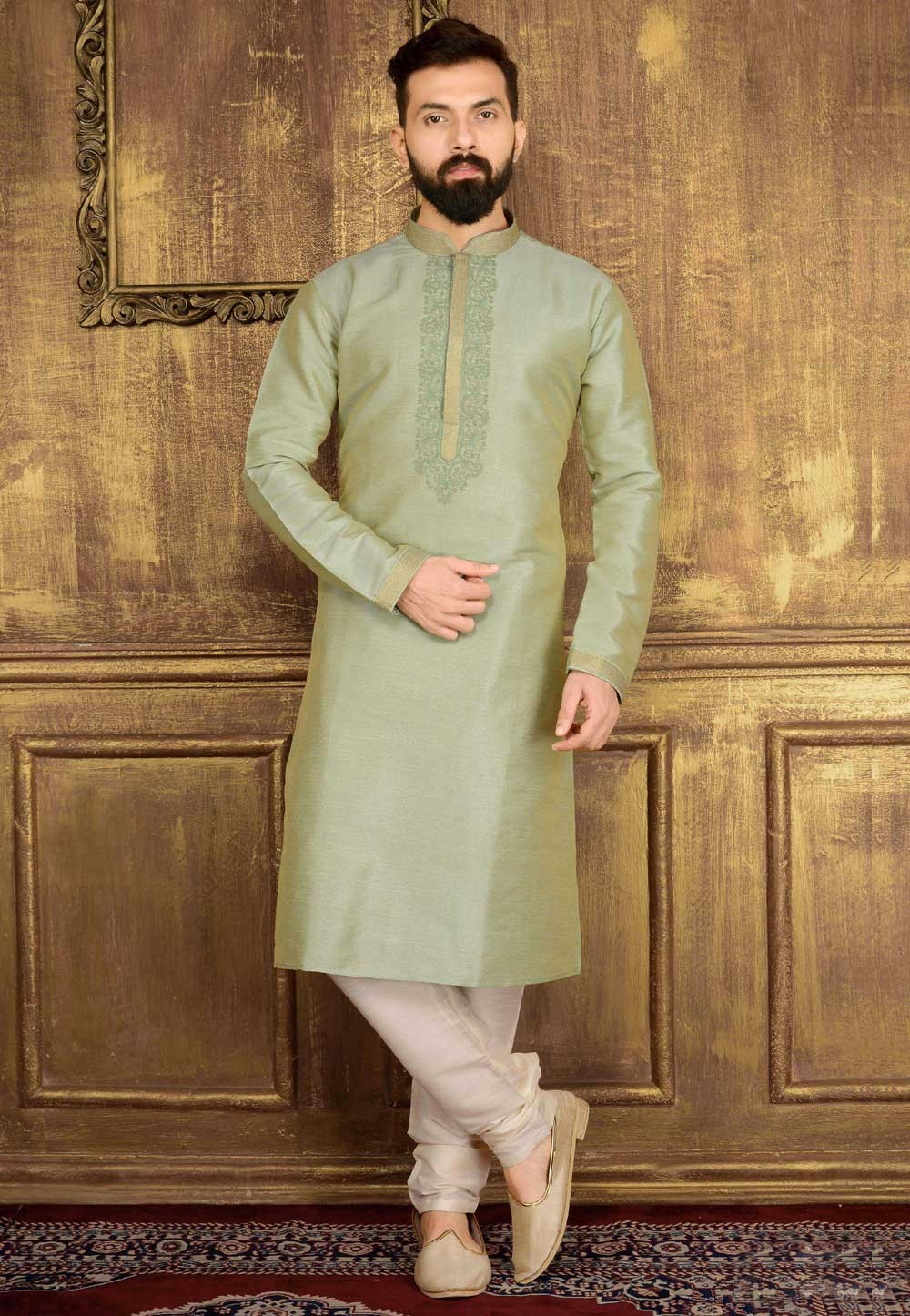 Exquisite Green Color Men's Readymade Kurta Pajama