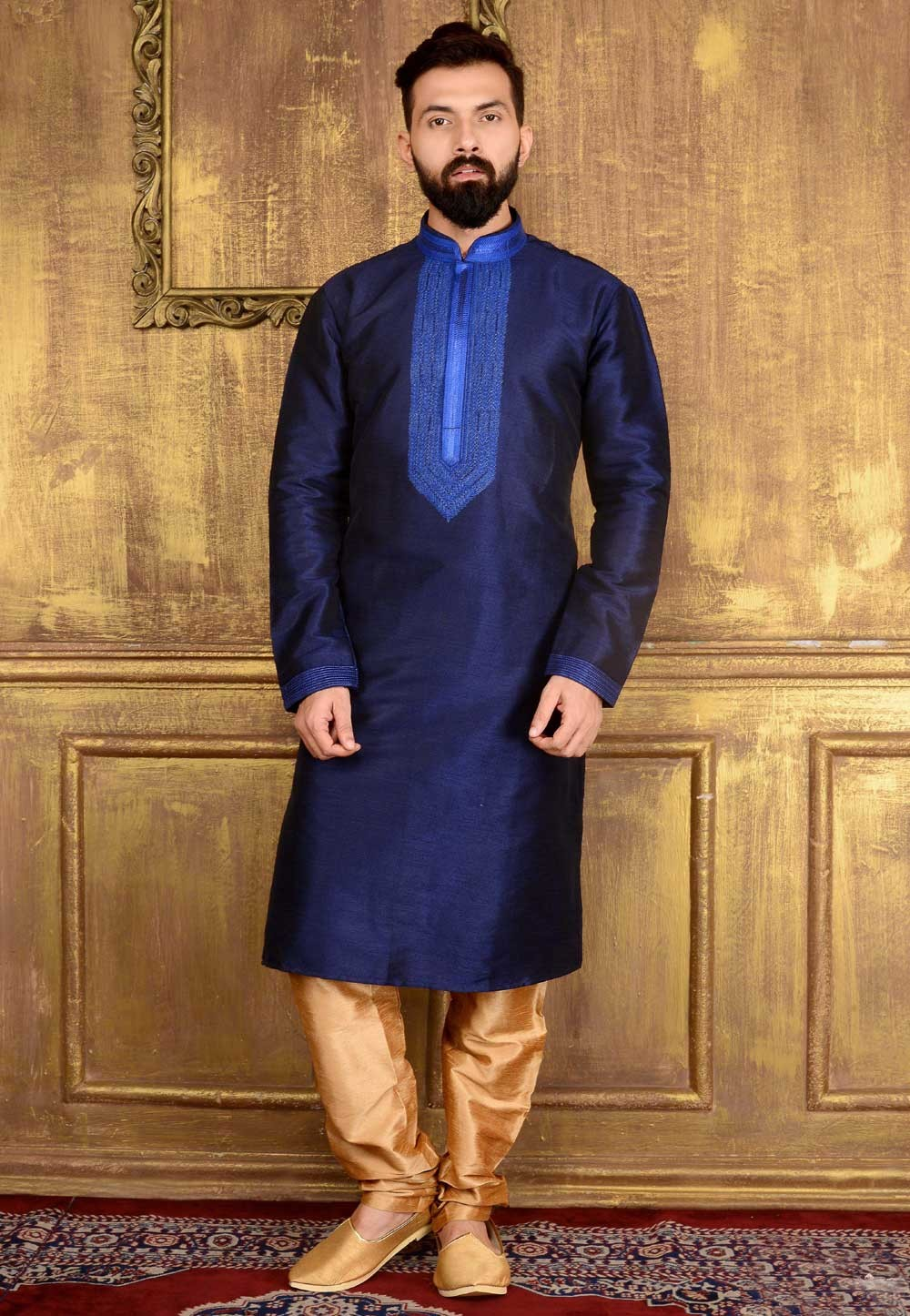 Men's Banarasi,Art Silk Blue Color Readymade Kurta Pajama