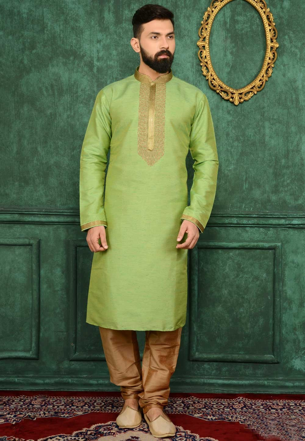 Sea Green Color Men's Readymade Kurta Pajama