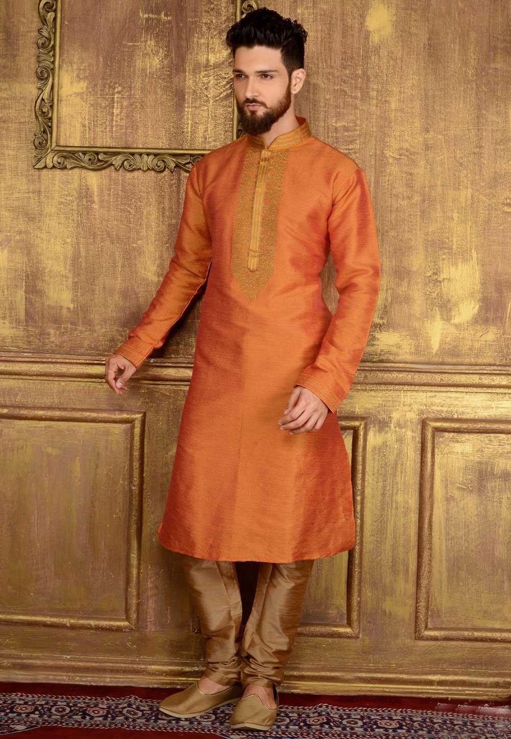 Men's Banarasi,Art Silk Peach Color Readymade Kurta Pajama.