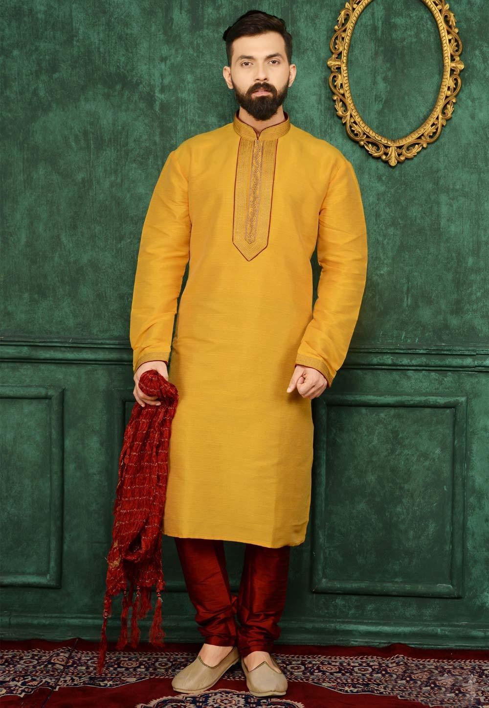 Men's Yellow Color Readymade Kurta Pajama.