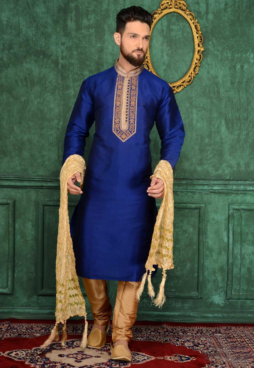Men's Art Silk & Blue Color Readymade Kurta Pajama.