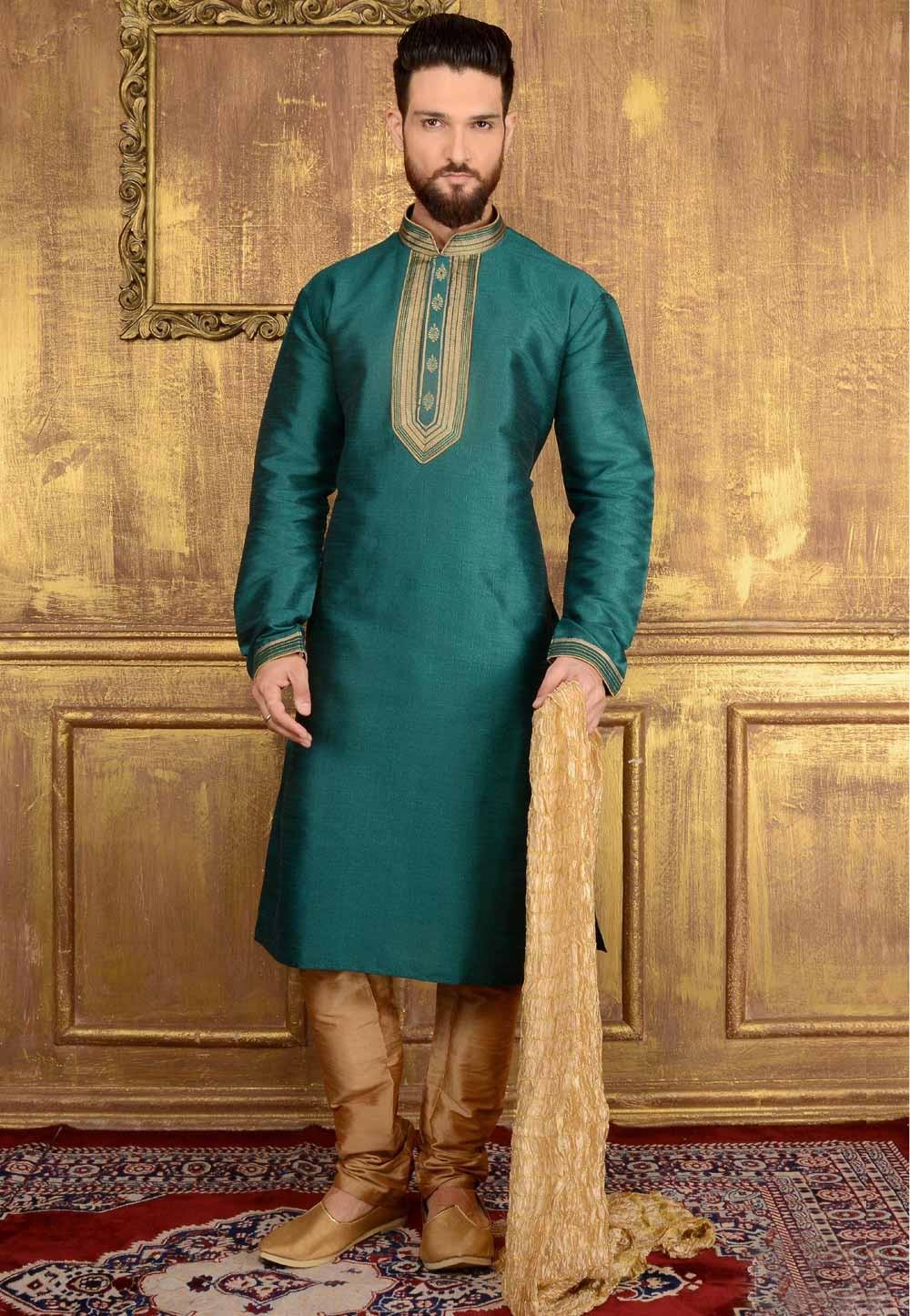 Exquisite Teal Green Color Art Silk Readymade Kurta Pajama.