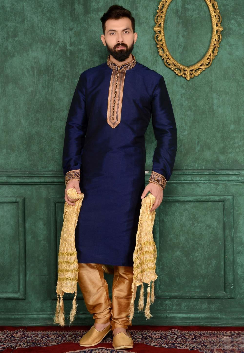 Raglan Sleeves Men's Banarasi,Art Silk Readymade Kurta Pajama.