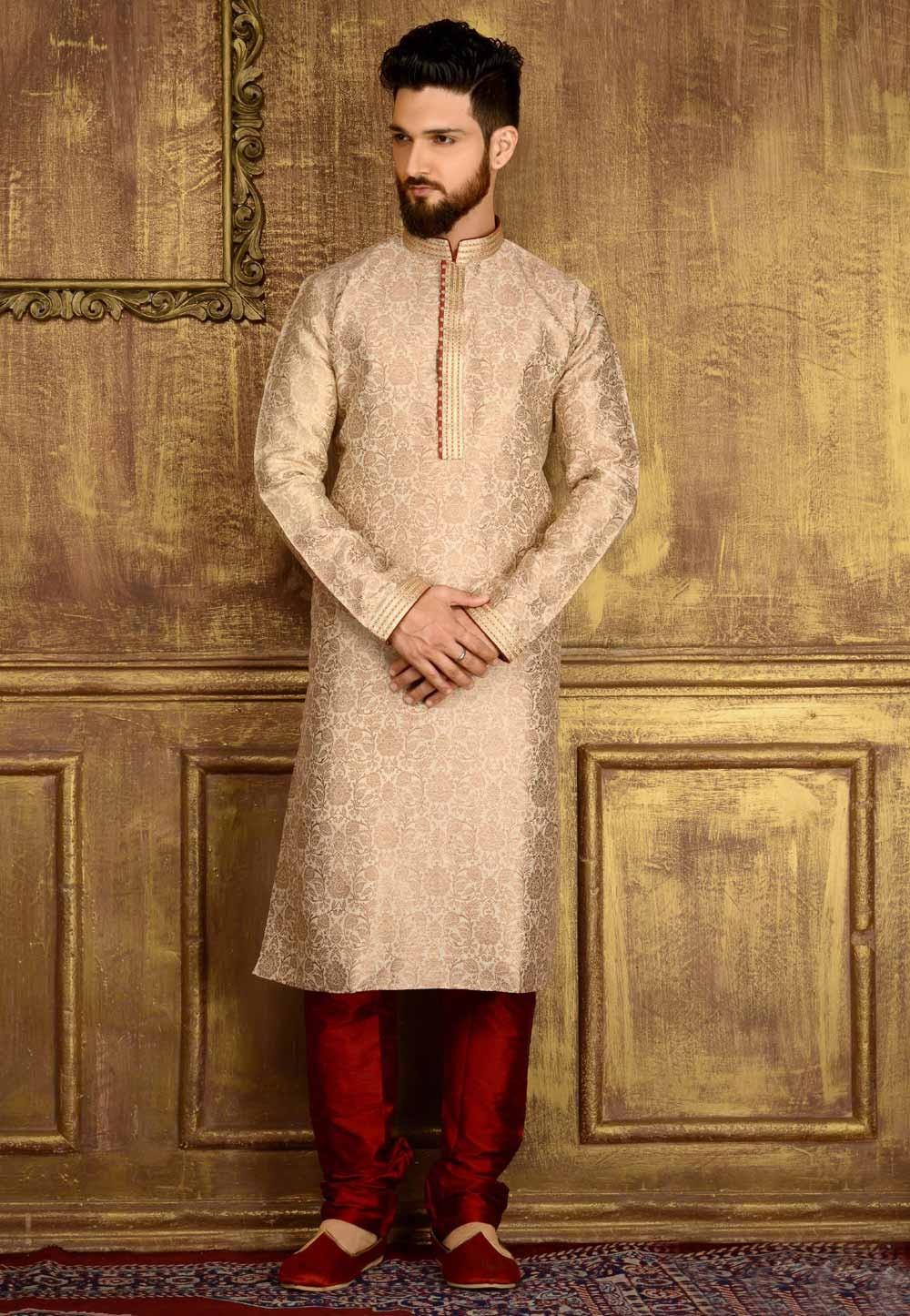 Men's Exquisite Gold Color Jacquard,Banarasi Silk Readymade Kurta Pajama.