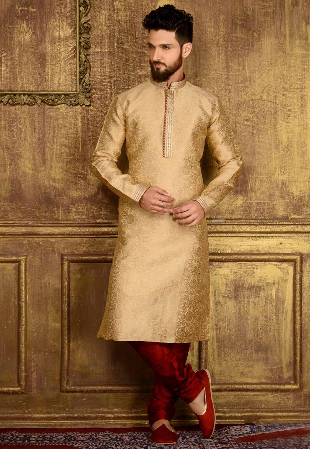 Gold Color Jacquard,Banarasi Silk Readymade Kurta For Mens