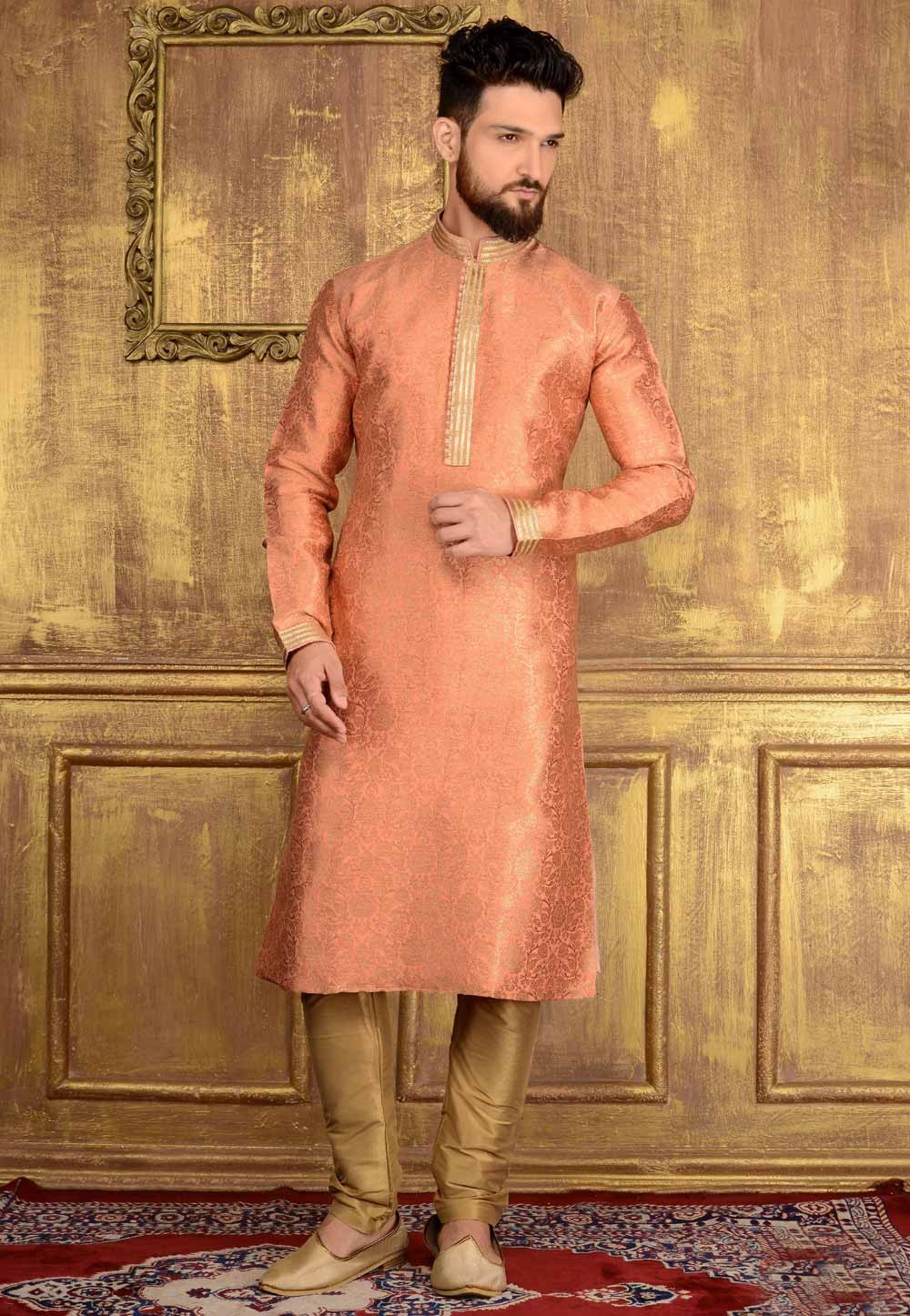 Jacquard,Banarasi Silk & Peach Color Men's Readymade Kurta Pajama.