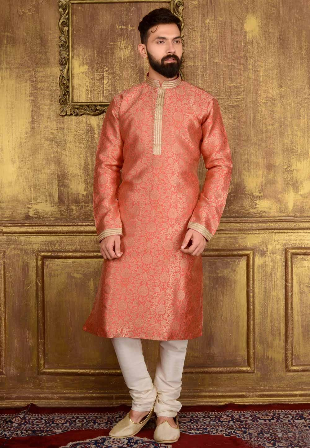 Red Color Jacquard,Banarasi Silk Men's Jacquard Readymade Kurta Pajama.