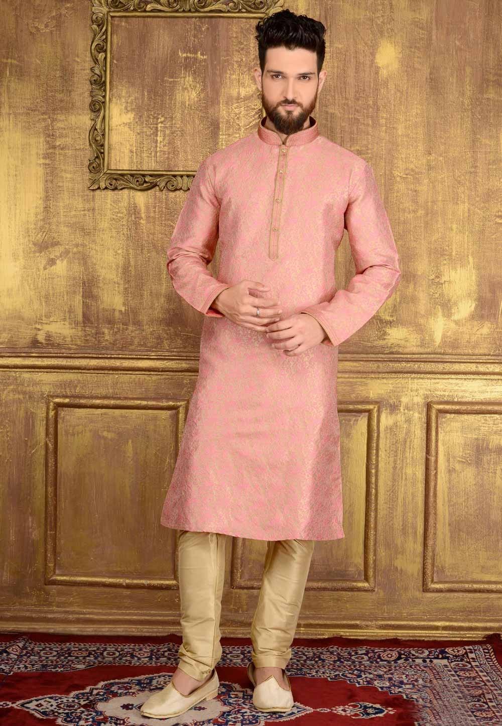 Exquisite Pink Color Men's Jacquard Readymade Kurta Pajama.