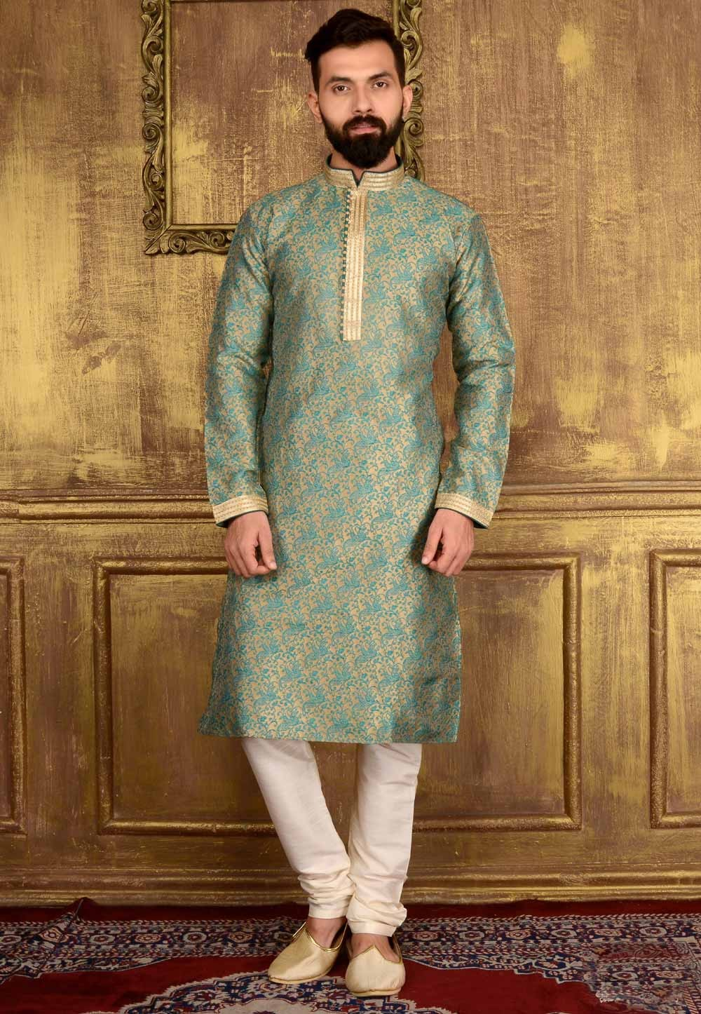 Incredible Raglan Sleeves Teal Green Color Readymade Kurta Pajama.