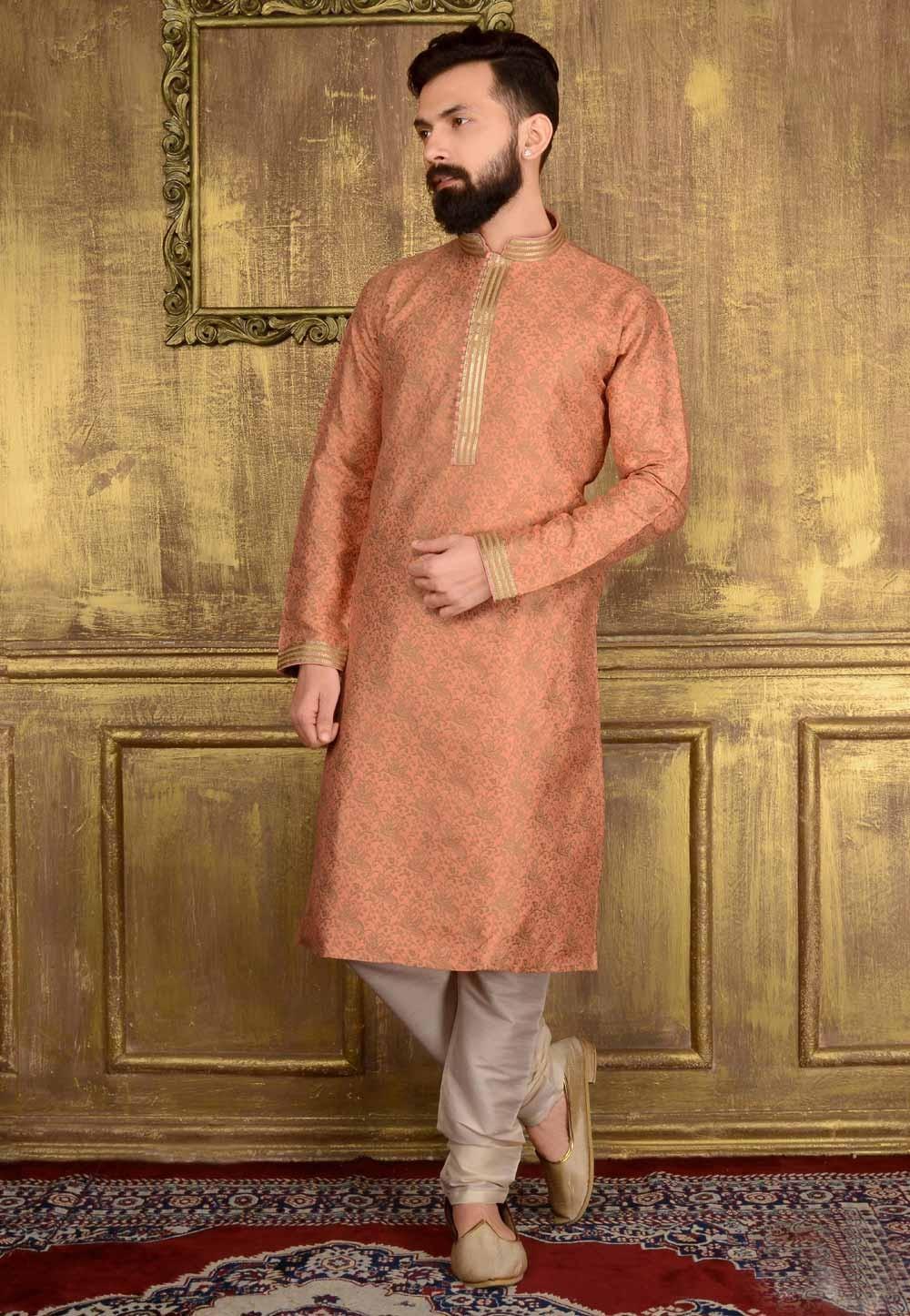 Incredible Raglan Sleeves Peach Color & Jacquard Readymade Kurta Pajama.