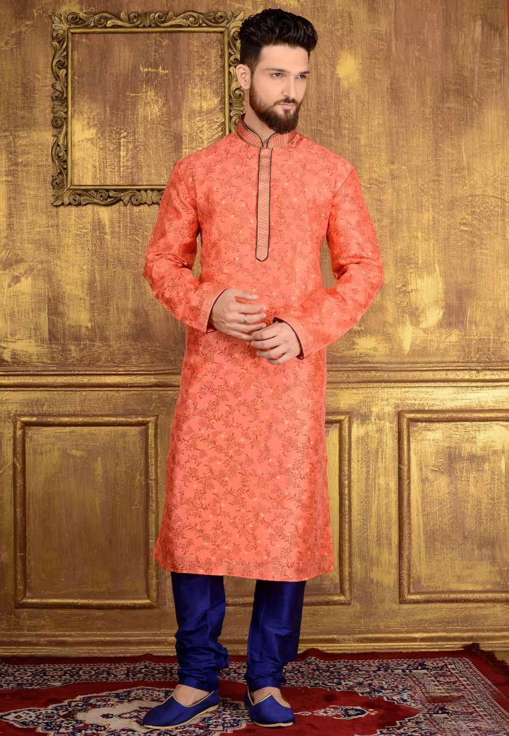 Chinese Collar Men's Jacquard,Banarasi Silk Readymade Kurta Pajama.