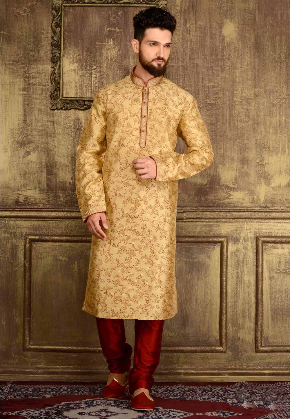 Exquisite Chinese Collar Men's Gold Color Readymade Kurta Pajama.