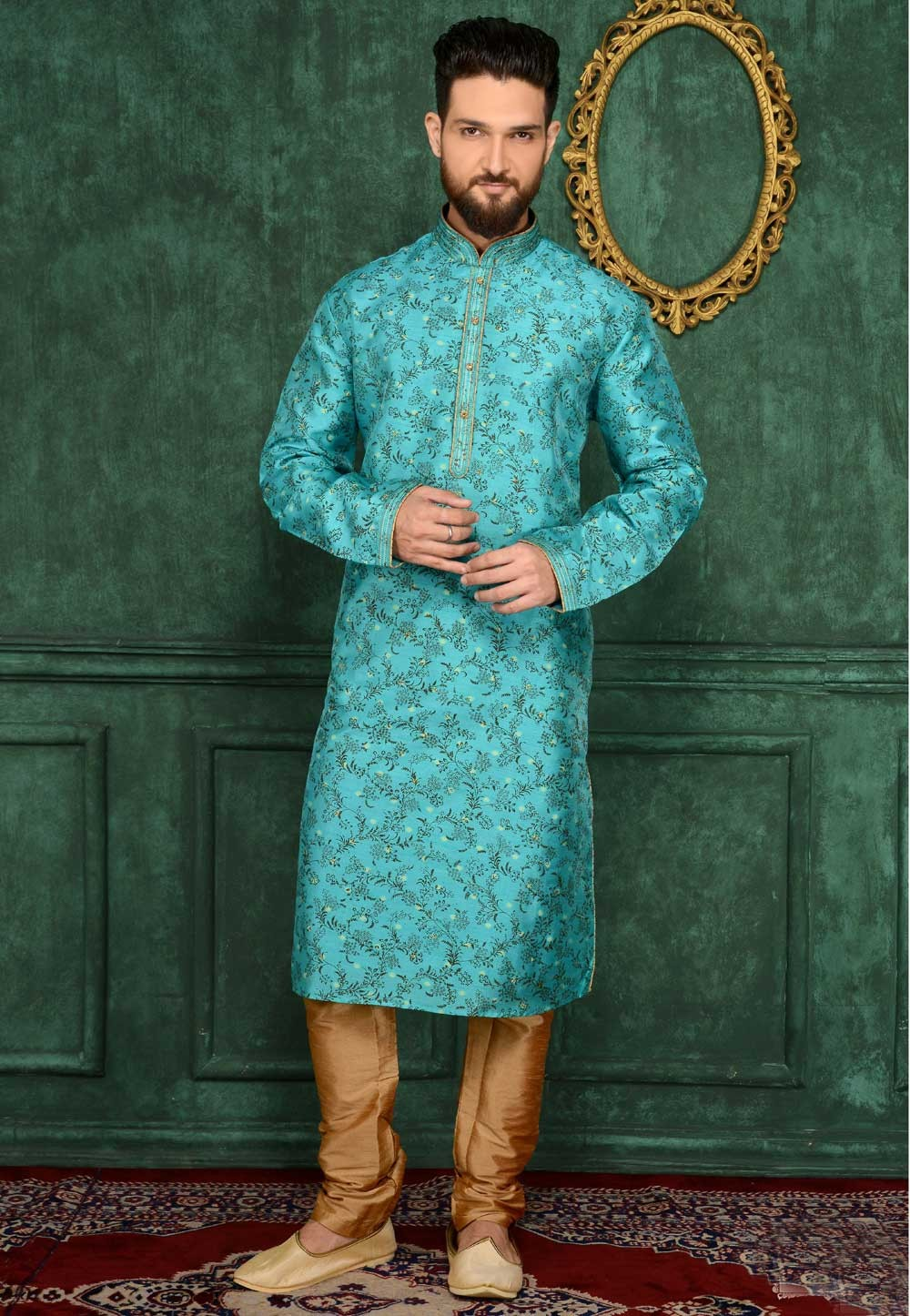 Men's Exquisite Turquoise Color Brocade Silk Readymade Kurta Pajama.