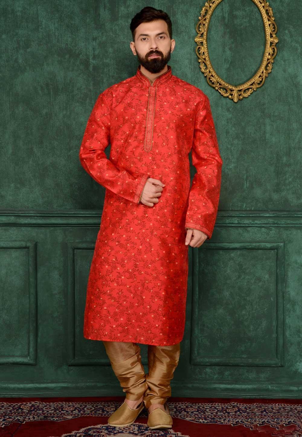 Brocade Silk & Red Color Men's Readymade Kurta Pajama.