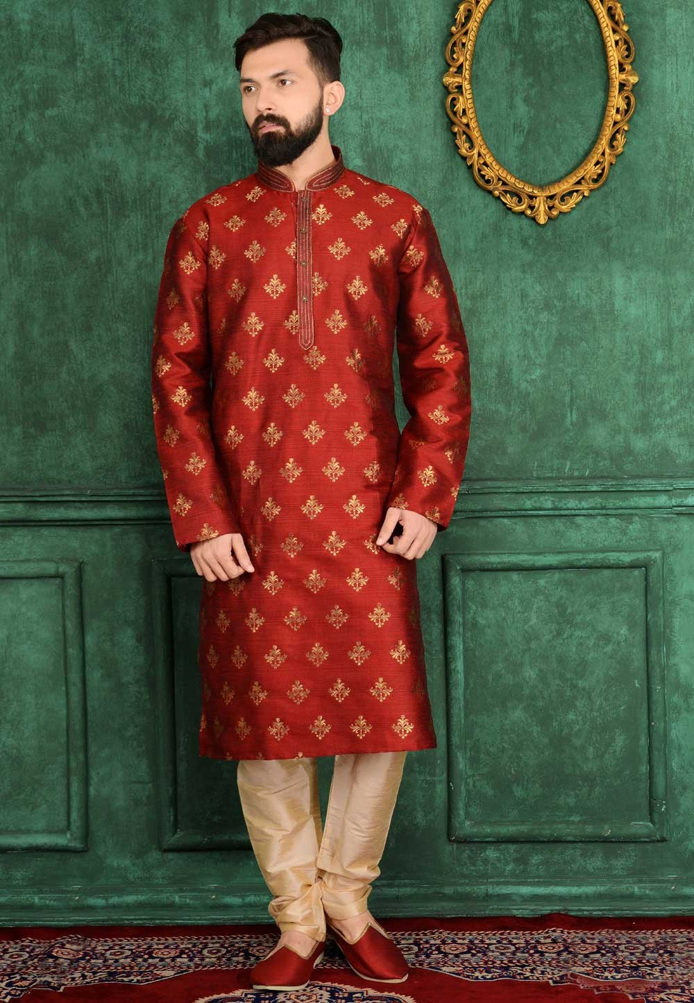 Men's Exquisite Raglan Sleeves Maroon Color Readymade Kurta Pajama.