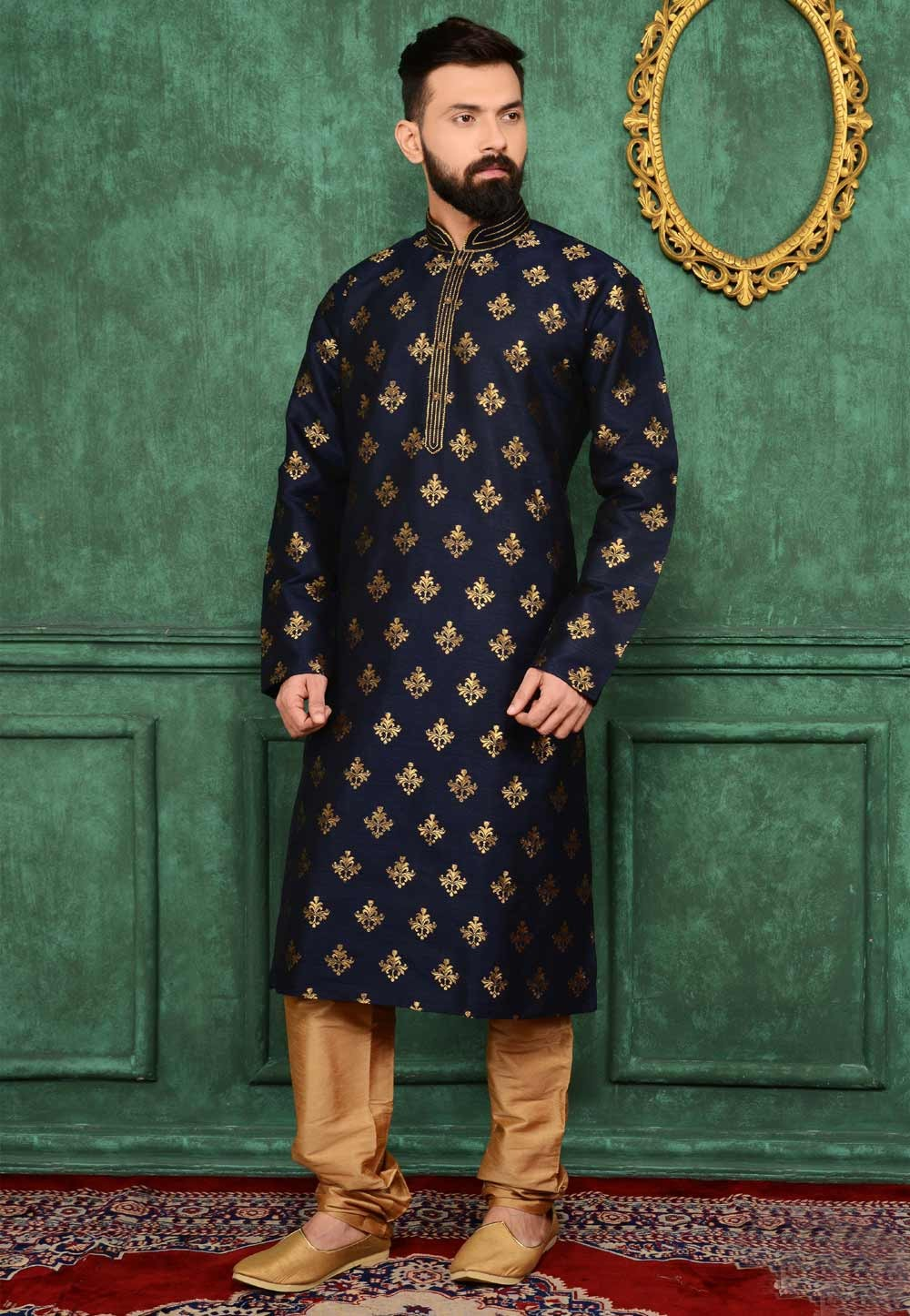 Blue Color Brocade Silk Readymade Kurta Pajama.