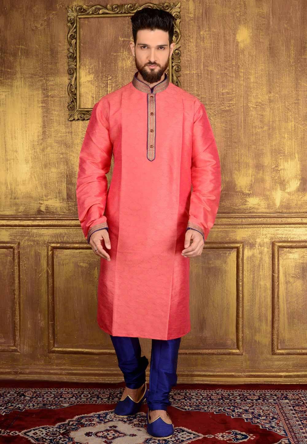 Jacquard,Brocade Silk & Pink Color Men's Readymade Kurta Pajama.