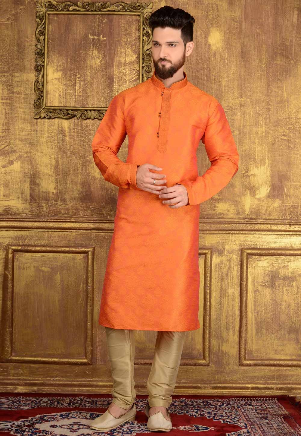 Orange Color Jacquard,Brocade Silk Readymade Kurta Pajama.