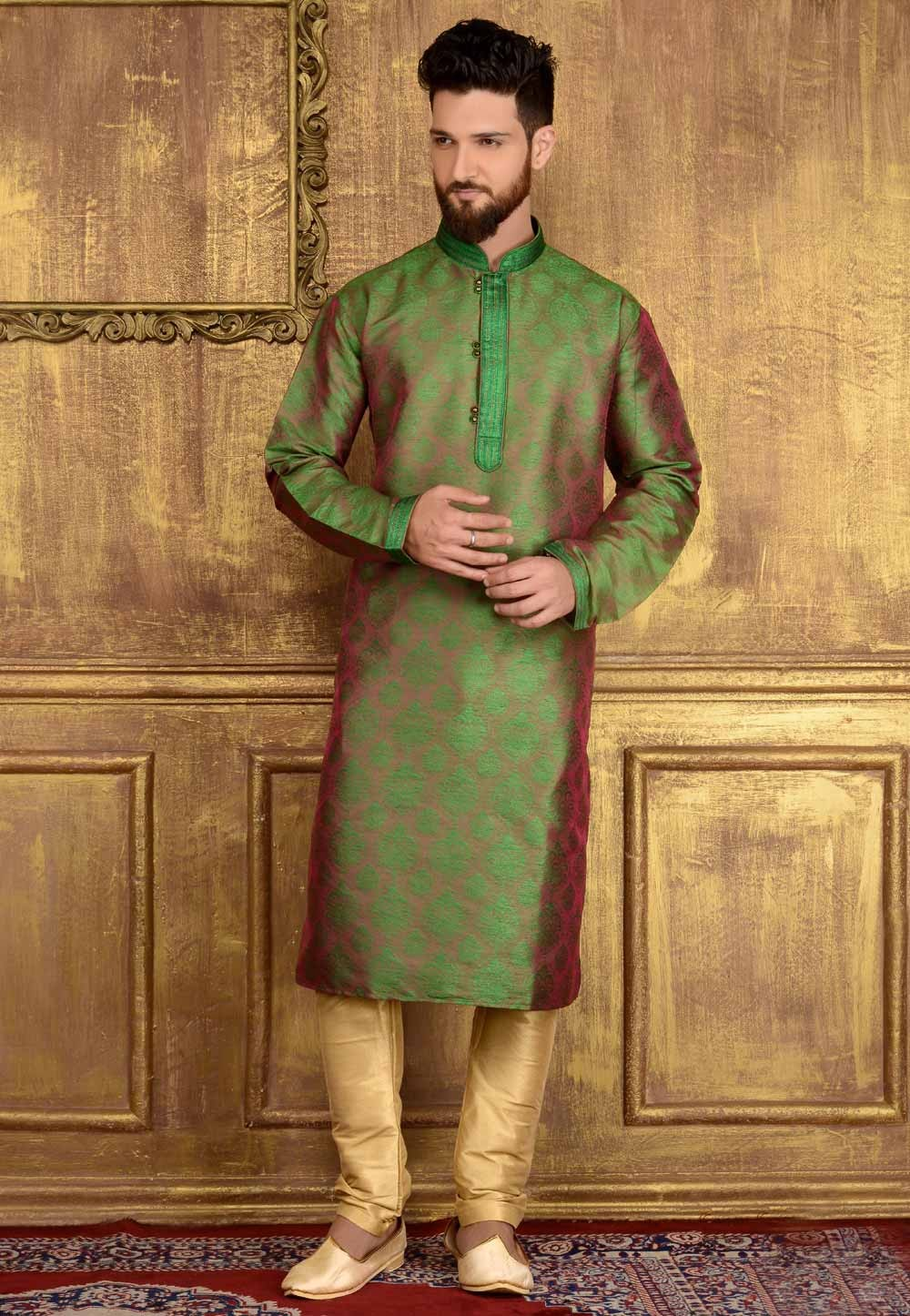 Green Color Jacquard,Brocade Silk Men's Readymade Kurta Pajama.