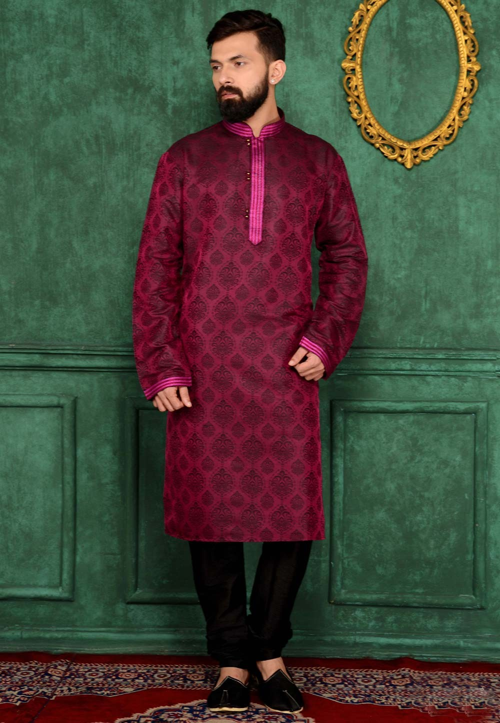 Men's Purple Color Jacquard,Brocade Silk Readymade Kurta Pajama.