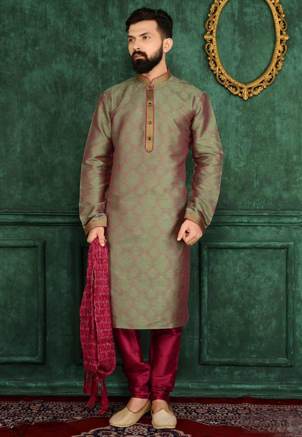 Exquisite Jacquard Green Color Men's Readymade Kurta Pajama.