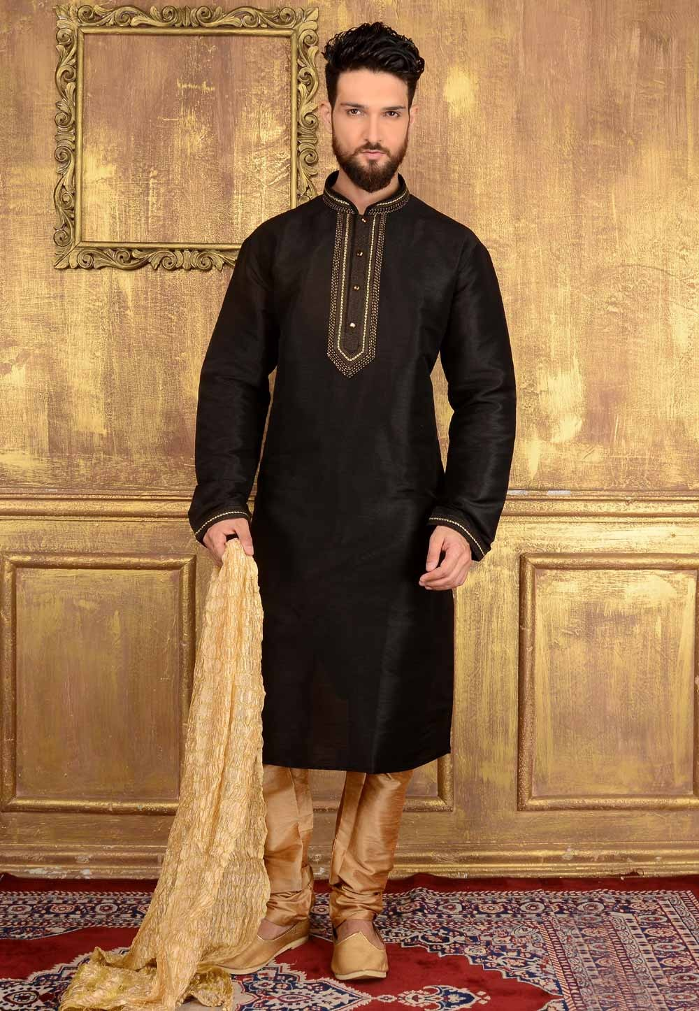 Incredible Raglan Sleeves Black Color Readymade Kurta Pajama.