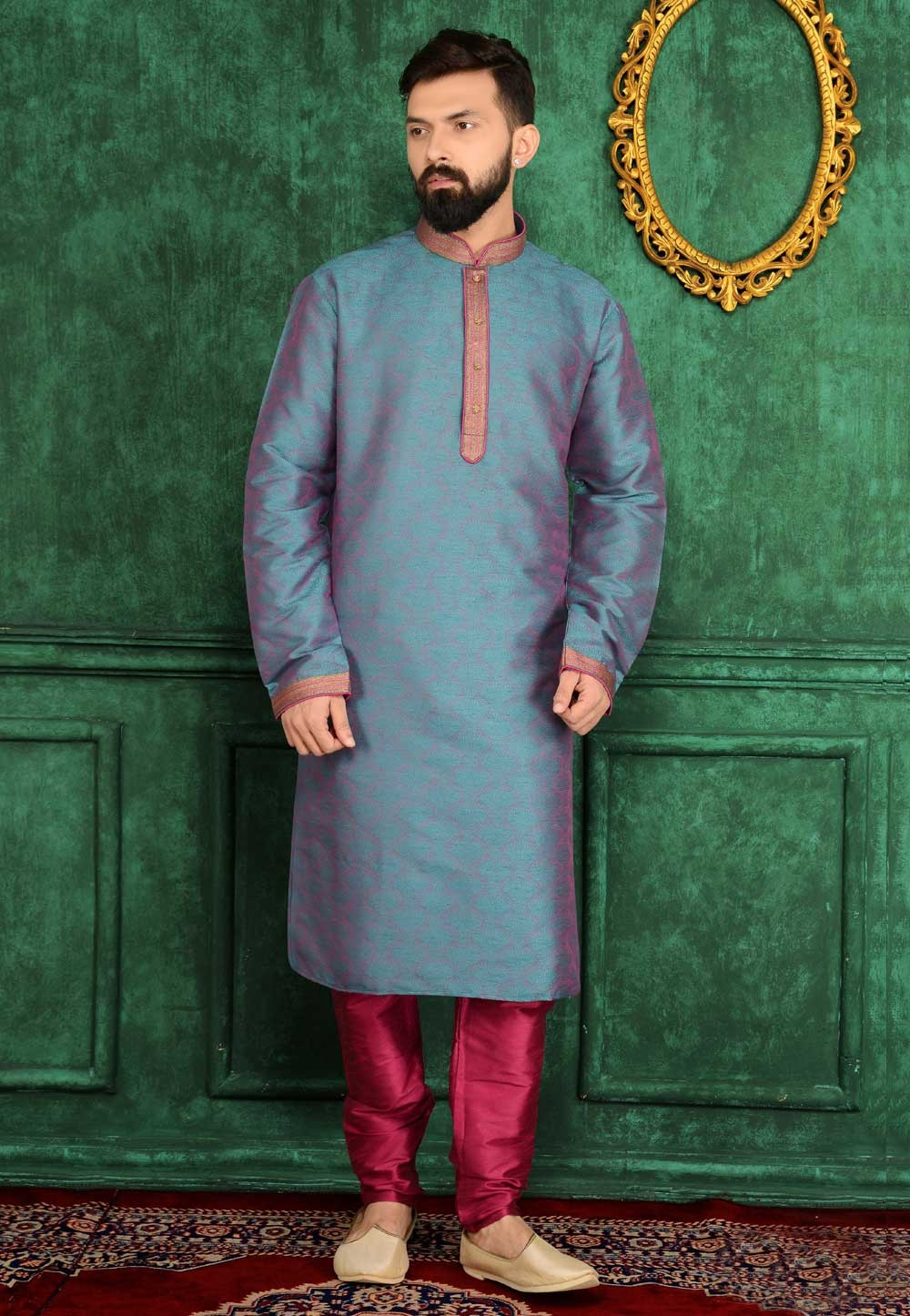 Exquisite Brocade Silk Green Color Men's Readymade Kurta Pajama.