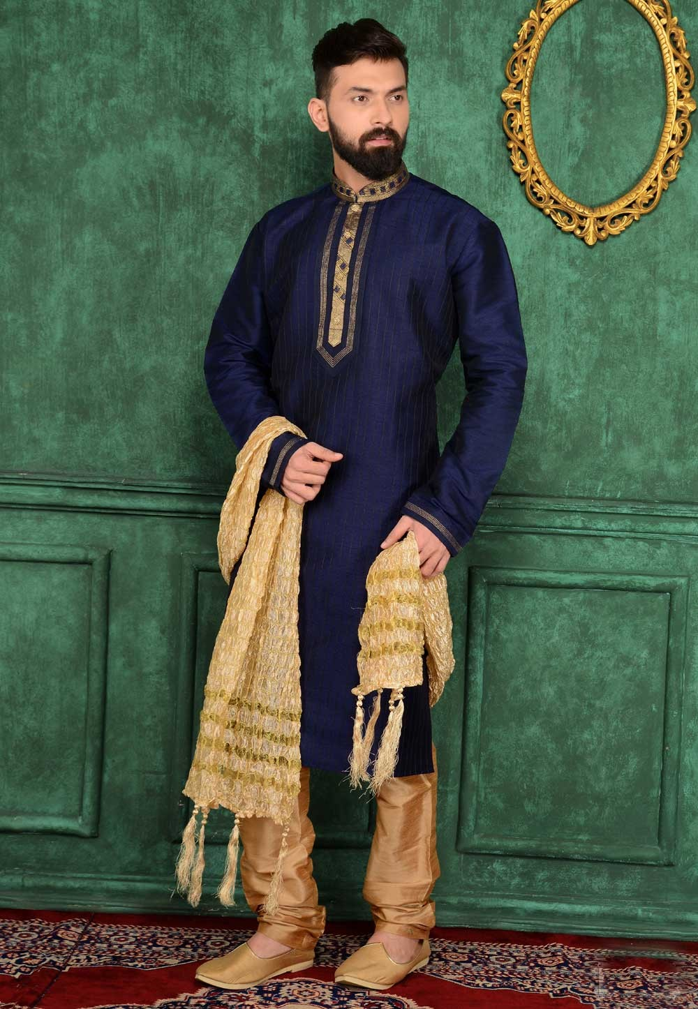 Men's Exquisite Raglan Sleeves Blue Color Readymade Kurta Pajama.