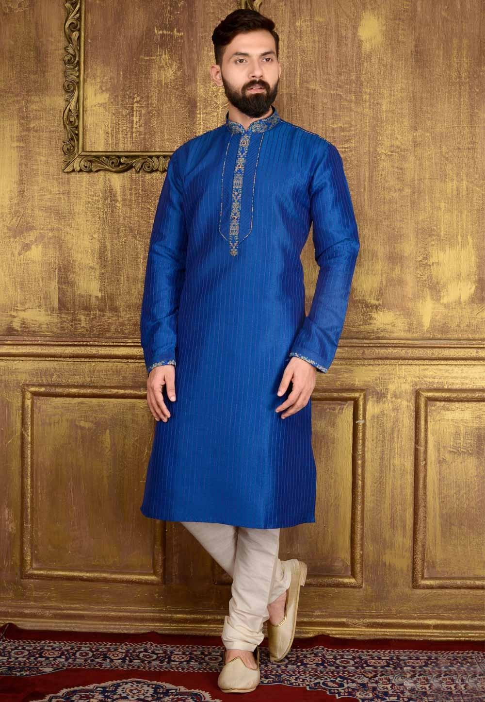 Exquisite Dupion Art Silk Blue Color Men's Readymade Kurta Pajama.