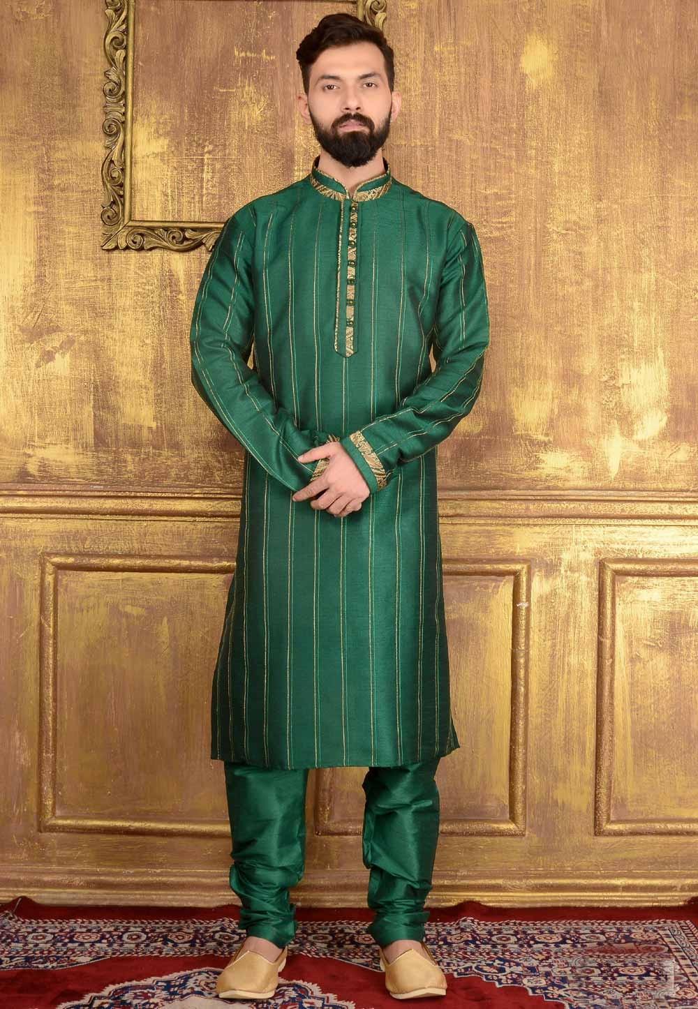 Men's Exquisite Green Color Dupion Art Silk Readymade Kurta Pajama.