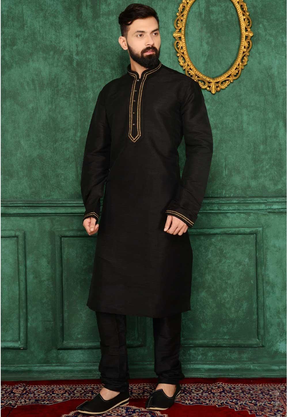 Exquisite Banarasi,Art Silk Black Color Men's Readymade Kurta Pajama.