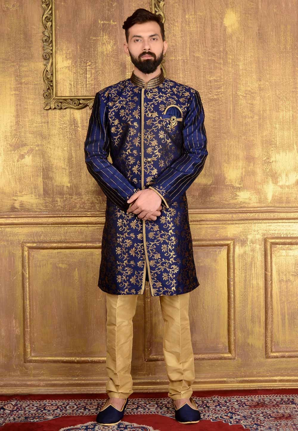 Attractive Chinese Collar Men's Blue Readymade Kurta Pajama.