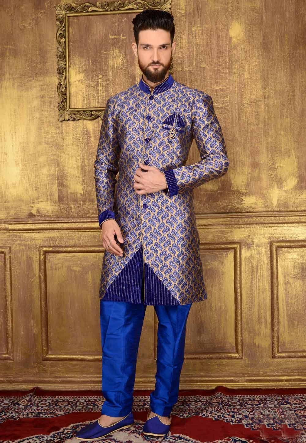 Exquisite Blue Color Jacquard,Brocade Silk Readymade Kurta Pajama.