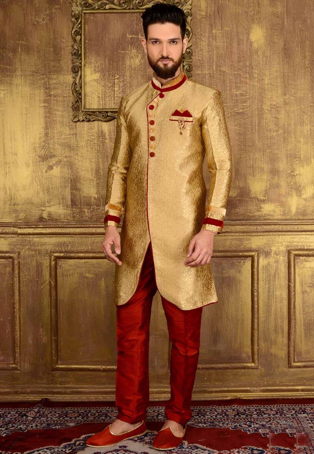 Attractive Raglan Sleeves Gold Color Jacquard,Brocade Silk Readymade Kurta Pajama.