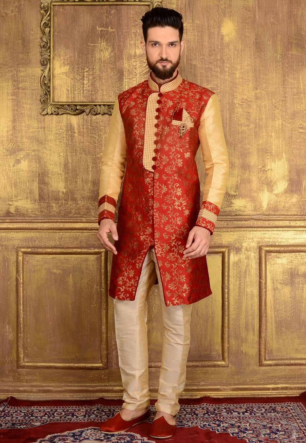 Exquisite Red Color Jacquard,Brocade Silk Readymade Kurta Pajama.