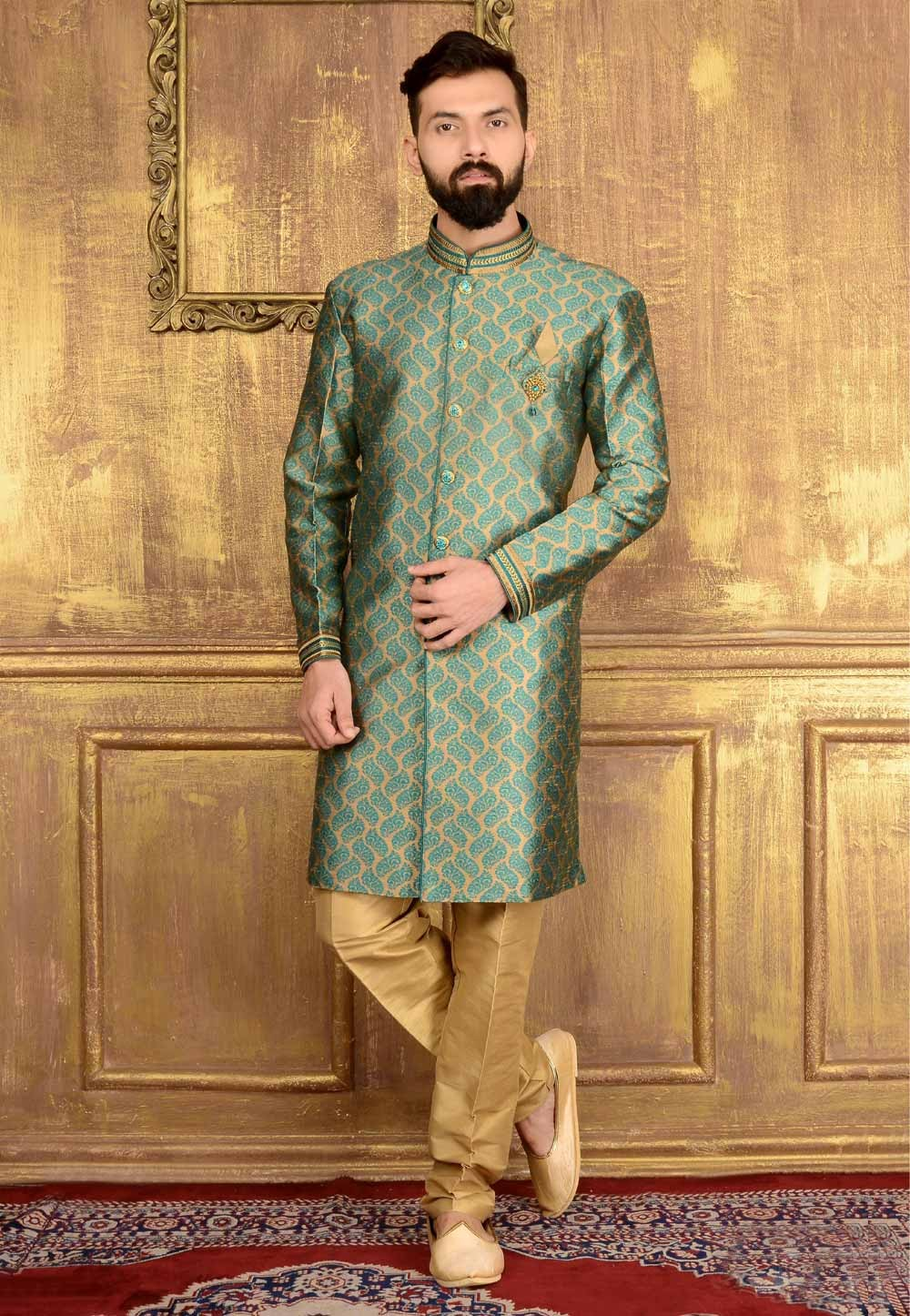 Green Color Jacquard,Brocade Silk Readymade Kurta Pajama.