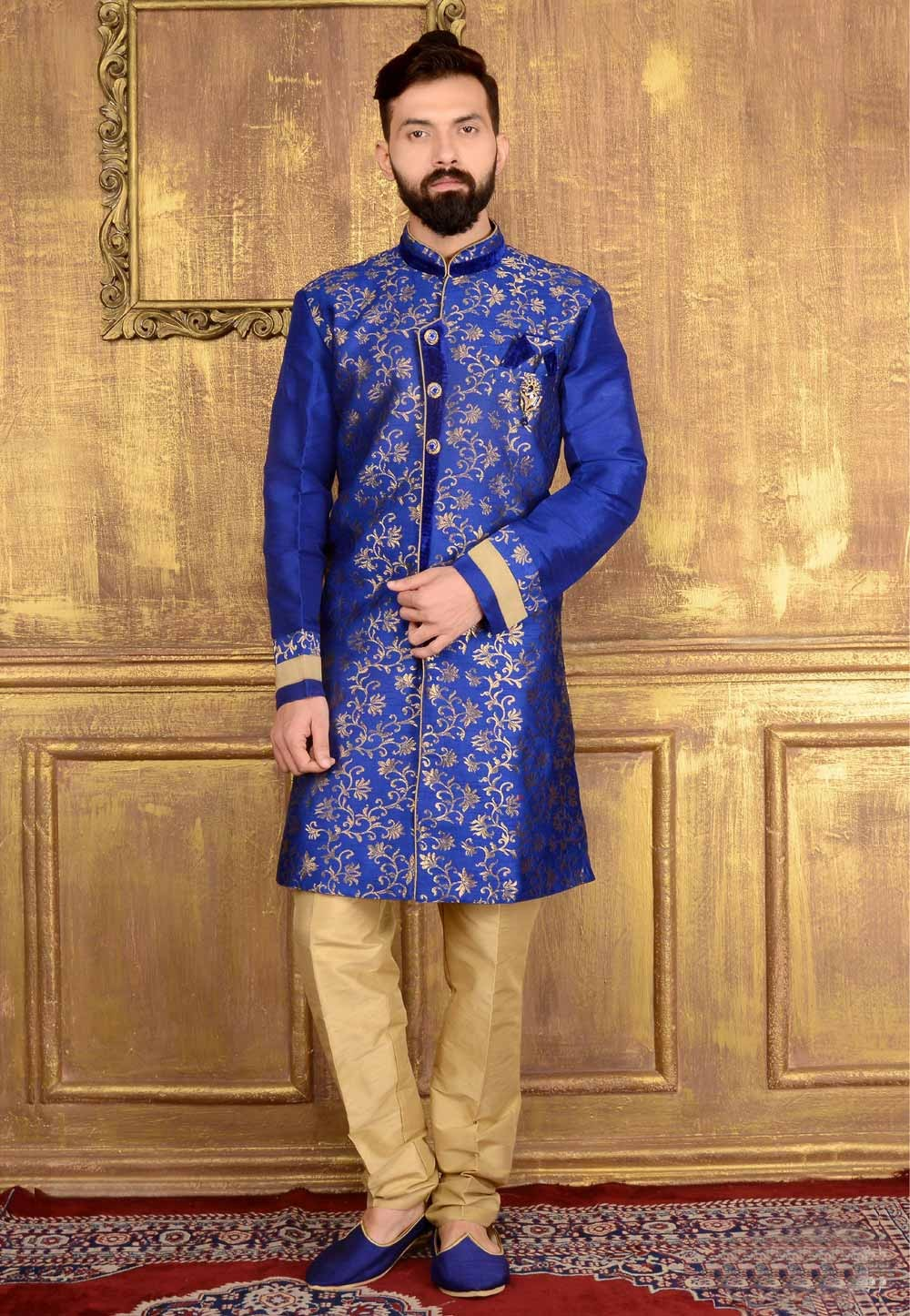 Exquisite Raglan Sleeves Blue Color Jacquard Readymade Kurta For Men's