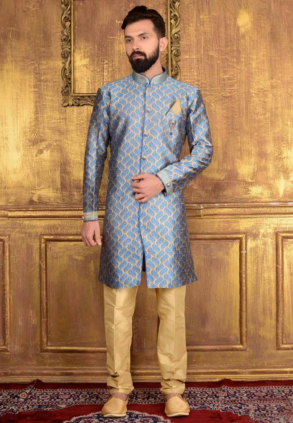 Men's Attractive Raglan Sleeves Blue Color Jacquard Readymade Kurta Pajama.