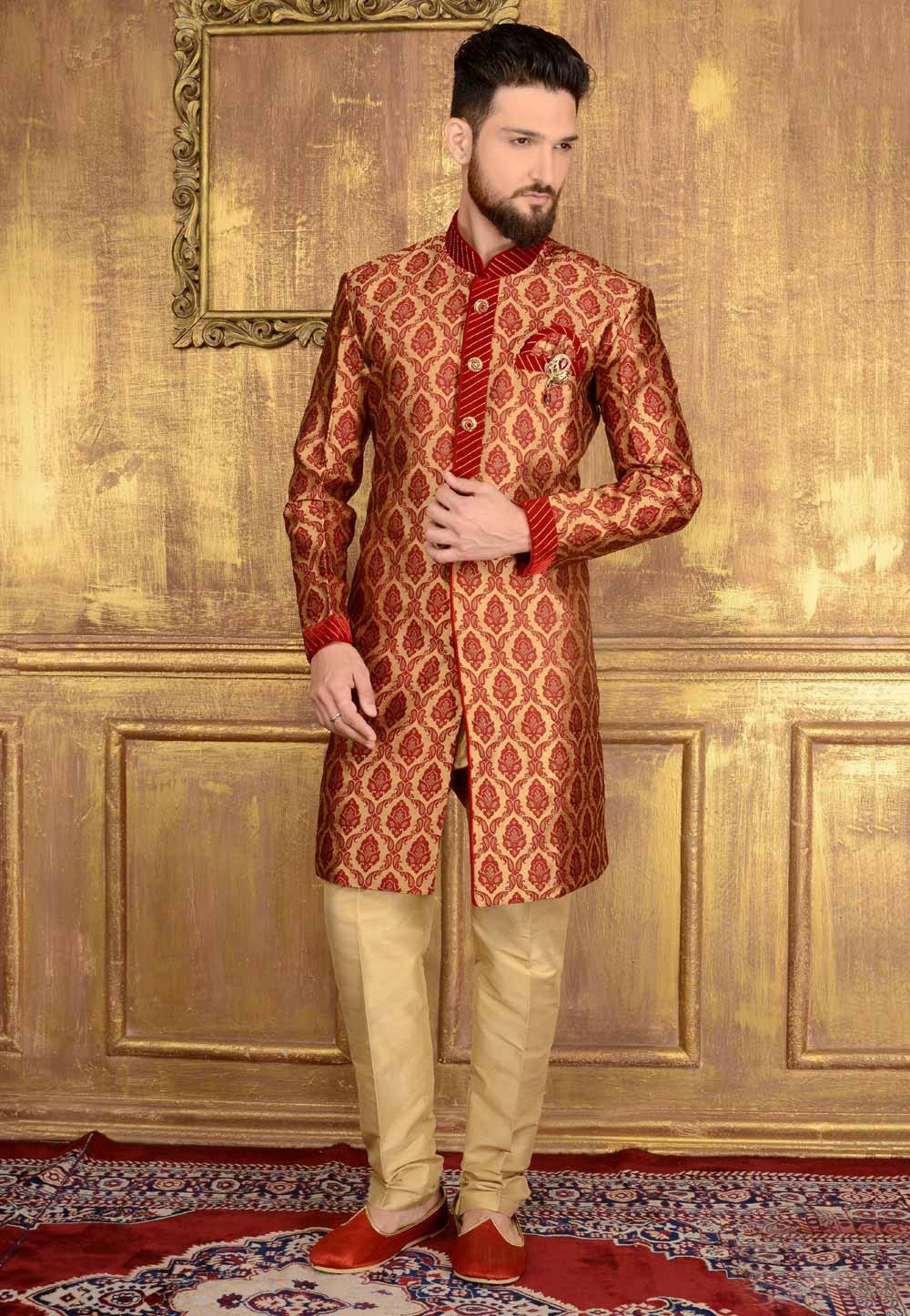 Exquisite Chinese Collar Men's Maroon Color Readymade Kurta Pajama.