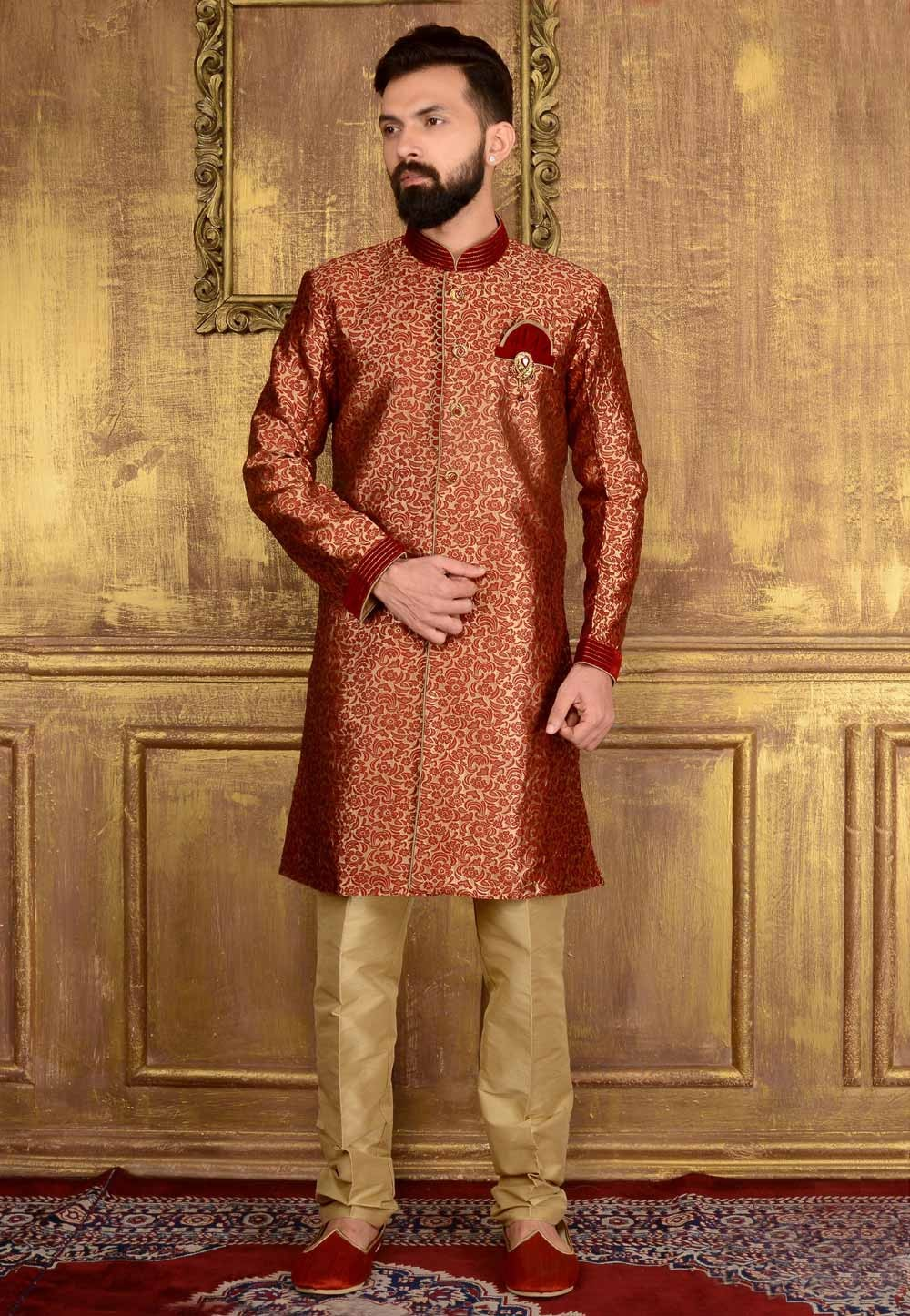 Men's Jacquard,Brocade Silk & Maroon Color Readymade Kurta Pajama.